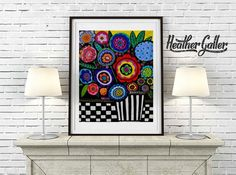 Mexican Folk Art Flowers Print Poster of Painting by Heather Galler Flora Lover