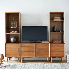 Mid-Century Media 5-Piece Set - Acorn | West Elm  Would the record player fit???