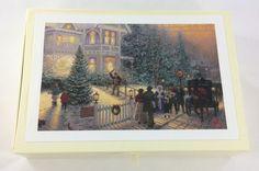 Thomas Kinkade Glitter Christmas Card Set in Box 18 Cards 19 Envelopes 1991 #Hallmark #Christmas
