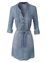 LE3NO Womens Long Sleeve Denim Shirt Dress with Self Tie Belt