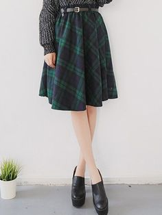 Green Plaid Belt High Waist Skater Midi Skirt