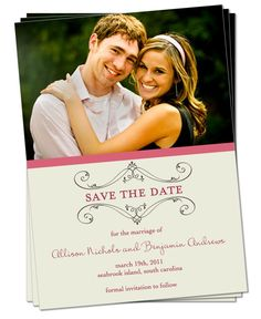 PRINTABLE - Wedding Save the Date Photo Card. $15.00, via Etsy.