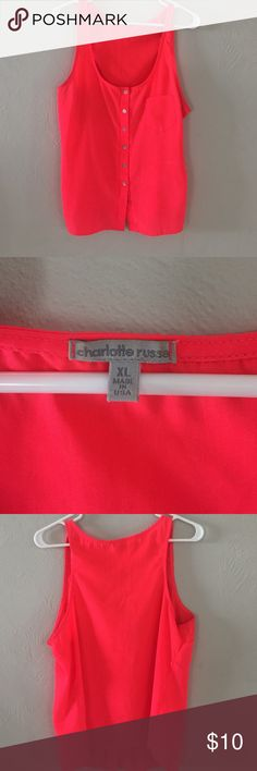 Neon coral tank! Neon colored coral tank! Stand out in a crowd with this comfy flattering tank! Size XL Tops Tank Tops