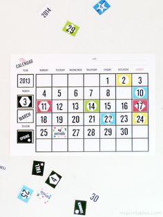 FREE Printable Blank Calendars - Mr Printables. Use as felt template or laminate for kids room (or family center!) perpetual calendar. Diy
