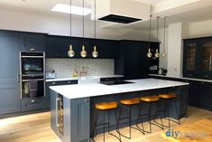 See Shaker kitchens, designed and installed in real homes by real people throughout the UK. Open Plan Kitchen Dining Living, Open Plan Kitchen Diner, Real Kitchen, Living Room Kitchen, Kitchen Room Design, Home Decor Kitchen, Interior Design Kitchen, Home Kitchens, Kitchen Trends