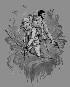 Joel and Ellie, The Last of Us. Artist unknown.