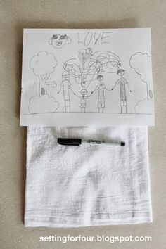 Make your children's drawings last for years to come with this DIY kids art transfered to tea towel. Great Mother's Day Gift!