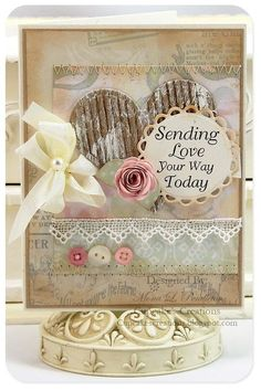 Love the soft, vintagey hues and many pretty details on this shabby chic card. #card #shabby #chic #scrapbooking #handmade #crafts #buttons