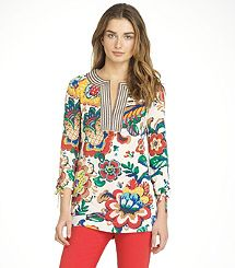 Tory Burch tunic--love the colors and the over-sized floral pattern. Not so much the striped neck, but not bad