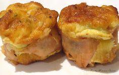 INGREDIENTES: 150 gr. de calabacín troceado 5 huevos 25 ml. de aceite 100 gr. de mozzarella rallada Sal, pimienta y orégano a gusto 6 lonch... Tapas, Mozzarella, Empanadas, Baked Potato, Muffin, Tortilla, Meat, Baking, Breakfast
