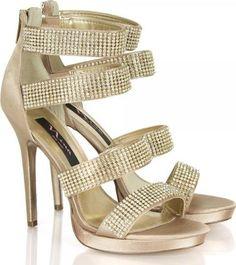 Gold Shamaze Diamante Strappy Heeled Sandal #Sandals #Daniel Footwear #fashion #obsessory #fashion #lifestyle #style #myobsession