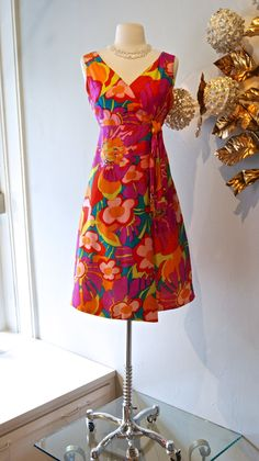 1960's Psychedelic Silk Print Dress