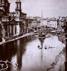 Piazza Navona.iL lago estivo 1865