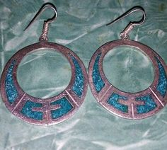 Sterling-silver-turquoise-loop-cross-earrings-vintage-70s-native-American