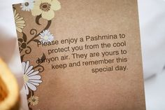 Pashmina's for Guests at an Outdoor Wedding