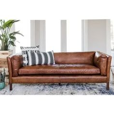 Tips That Help You Get The Best Leather Sofa Deal. Leather sofas and leather couch sets are available in a diversity of colors and styles. A leather couch is the ideal way to improve a space's design and th Cognac Leather Sofa, Best Leather Sofa, Modern Leather Sofa, Leather Sofas, Pottery Barn Leather Sofa, Leather Pillow, Tan Leather, Sofa Furniture, Furniture Deals