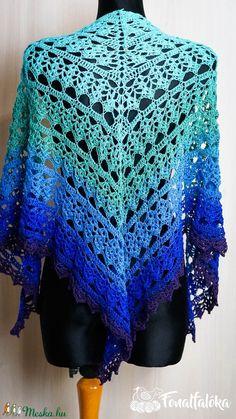 Türkiz-kék-lila horgolt csipke kendő (Fonalfaloka) - Meska.hu Crochet Top, Tops, Women, Fashion, Moda, Women's, La Mode, Shell Tops, Fasion