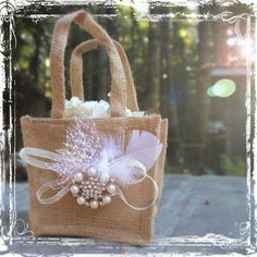 Burlap And Bling Flower Girl Basket - Rustic Weddings - Cottage Shabby Chic Wedding - Pearls, Rhinestones, White Feather - Beige Tan Neutral