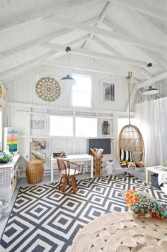 Backyard shed gets a colorful and eclectic multi-purpose makeover thanks to the One Room Challenge.