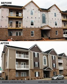 Rempfer Construction, Inc. - Siding Before & After Roof Trim, Vinyl Siding, Construction, Cabin, Mansions, House Styles, Home Decor, Building, Mansion Houses