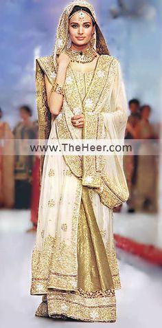 BW6366 Off White Vegas Gold Banarasi Jamawar Crinkle Chiffon Sharara Pakistani Wedding Wear, Pakistani Lehanga, Pakistani Suits, Pakistani Bridal Fashion Dress Outfits Bridal Wear