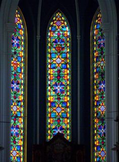 Stained glass window, St Andrew's Cathedral, one of the oldest buildings in Singapore. Stained Glass Church, Stained Glass Panels, Leaded Glass, Stained Glass Art, Mosaic Art, Mosaic Glass, Crea Design, Church Windows, Cathedral Windows