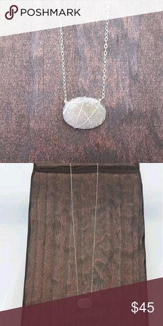 Silver oval druzy delicate necklace Handmade druzy necklace wrapped in silver with a silver chain. Acalia's Designs Jewelry Necklaces