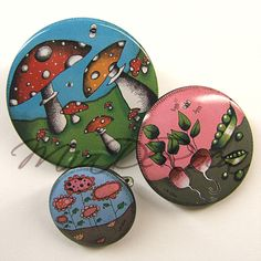 Cute badges with toadstoools, flowers or veggies Shops, Button Badge, Badges, Brooch Pin, Veggies, Buttons, Cool Stuff, Cute, Flowers