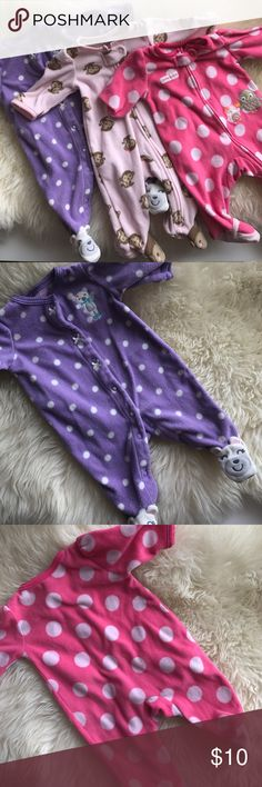 Newborn Footie PJ's All three are included in this bundle. Two are zippered PJ's, one is a button down. In great condition, no holes or stains, normal washing wear. 100% polyester for all three. Item from a smoke free/pet free home.  H O S T P I C K ! 8x host pick!  D I S C L A I M E R * I take reasonable offers - no low balling * I do not trade * When you bundle you save more! Maurices One Pieces Footies