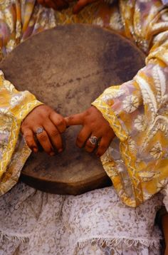 Young Berber Woman's Hands Holding Drum