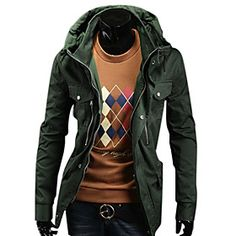 Men's Casual Medium Style Hoodies Cardigan Jacket(Army Green)