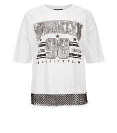 White Brooklyn Print Mesh T-Shirt | New Look
