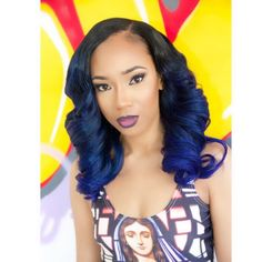 Midnight Blue Ombre Dip Dye Hairstyle Hair Curly Wavy Side Part Parting Flawless Makeup Black Women Beauty African American British Hairitis