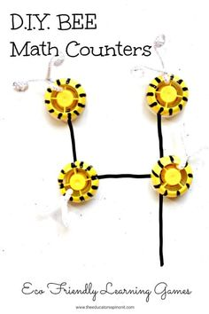 Make a set of super cute bee counters and play these easy math games with your child. Easy Math Games, Activity Games For Kids, Math Activities For Kids, Diy Games, Math For Kids, Fun Math, Preschool Arts And Crafts, Preschool Themes, Preschool Math