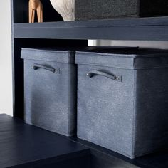 This Washed Denim Storage Bin will blend in seamlessly with school supplies and your bedroom style.