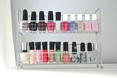 using a spice rack to store nail polish = genius!!!