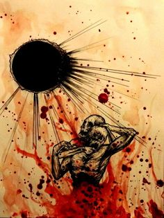 """""""Under the funeral Moon"""" (ink gel pen and my blood) - artist: Maxime Taccardi"""