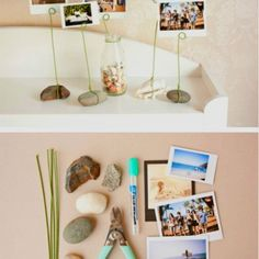 """DIY stone photo holder.....for her """"rock"""" collection"""