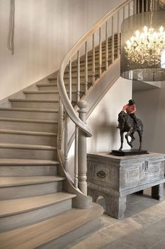 Staircase - I like the color and finish of these gray stairs. Basement Stairs, House Stairs, Entryway Stairs, Oak Stairs, Cottage Staircase, Banisters, Stair Railing, Railings, Railing Ideas