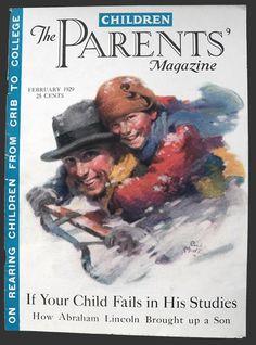 1929 Children Magazine Cover ~ Father, Son Sledding