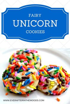 fairy unicorn sprinkles jimmies rainbow bites and cookies - perfect for birthdays, showers, luncheon and tea parties. every little girls dream cookie.