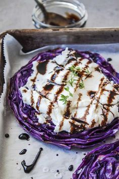 A roasted cabbage steak slathered with a thick layer of ricotta and drizzled with beersamic reduction. Roasted Cabbage Recipes, Roasted Red Cabbage, Easy Cabbage Recipes, Baked Cabbage, Roasted Vegetable Recipes, Vegetable Dishes, Roasted Vegetables, Grilled Cabbage Steaks, Cabbage Side Dish