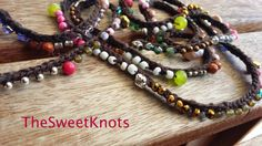 Beaded wrap  Crochet bracelet necklace with stone by TheSweetKnots, $42.00