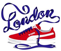 puma sneakers typography