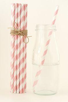 100 Light Pink Striped Paper Straws Retro Vintage Style Carnival Circus Wedding Birthday Bridal Baby Shower W/ Printable Flags Ready to Ship. $16.00, via Etsy.
