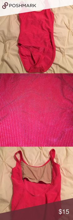 Hot pink, vintage, ribbed bodysuit The middle picture best shows the metallic sheen and bright color! Catalina Other