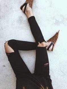 All black + leopard slides