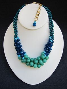 """ANGELICA    ~ 9mm Faceted Mint Jade Rounds  ~ 7mm Faceted Dark Teal Jade Rounds  ~ 4mm Emerald Jade Rounds  ~ Turquoise Heishi Bead Accents    17"""" Length  2 1/2"""" Gold Link Extender Chain  Gold Lobster Claw Closure    $278.00"""