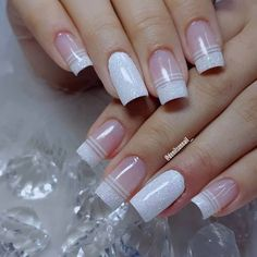 Black Acrylic Nails, Simple Acrylic Nails, Summer Acrylic Nails, Acrylic Nail Designs, Glitter French Manicure, French Tip Nails, Gel Uv Nails, My Nails, Manicure Colors