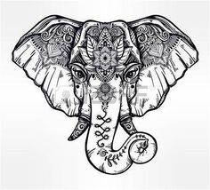 #Tattoo lotus flower tattoo designs: Decorative elephant with ethnic lotus ornament. Illustration, Click to See More...